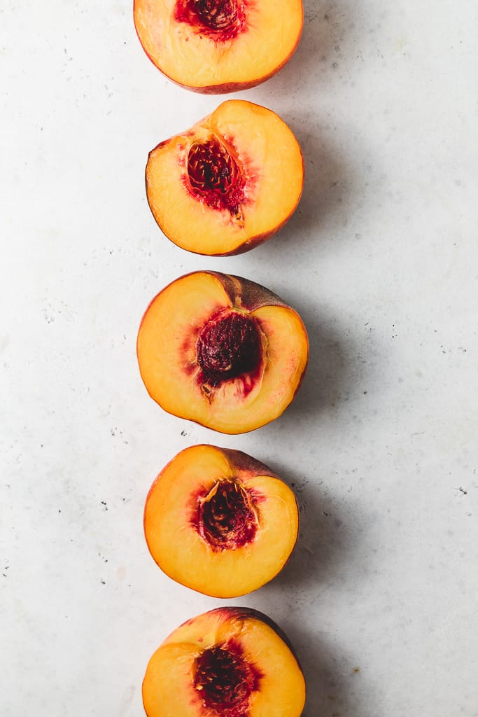 halved peaches
