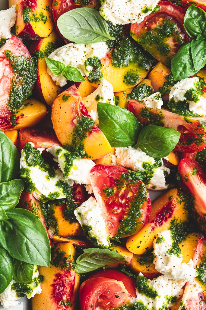 peach caprese salad with basil vinaigrette