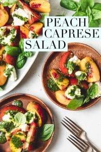 peach caprese salad with basil vinaigrette on wood plates