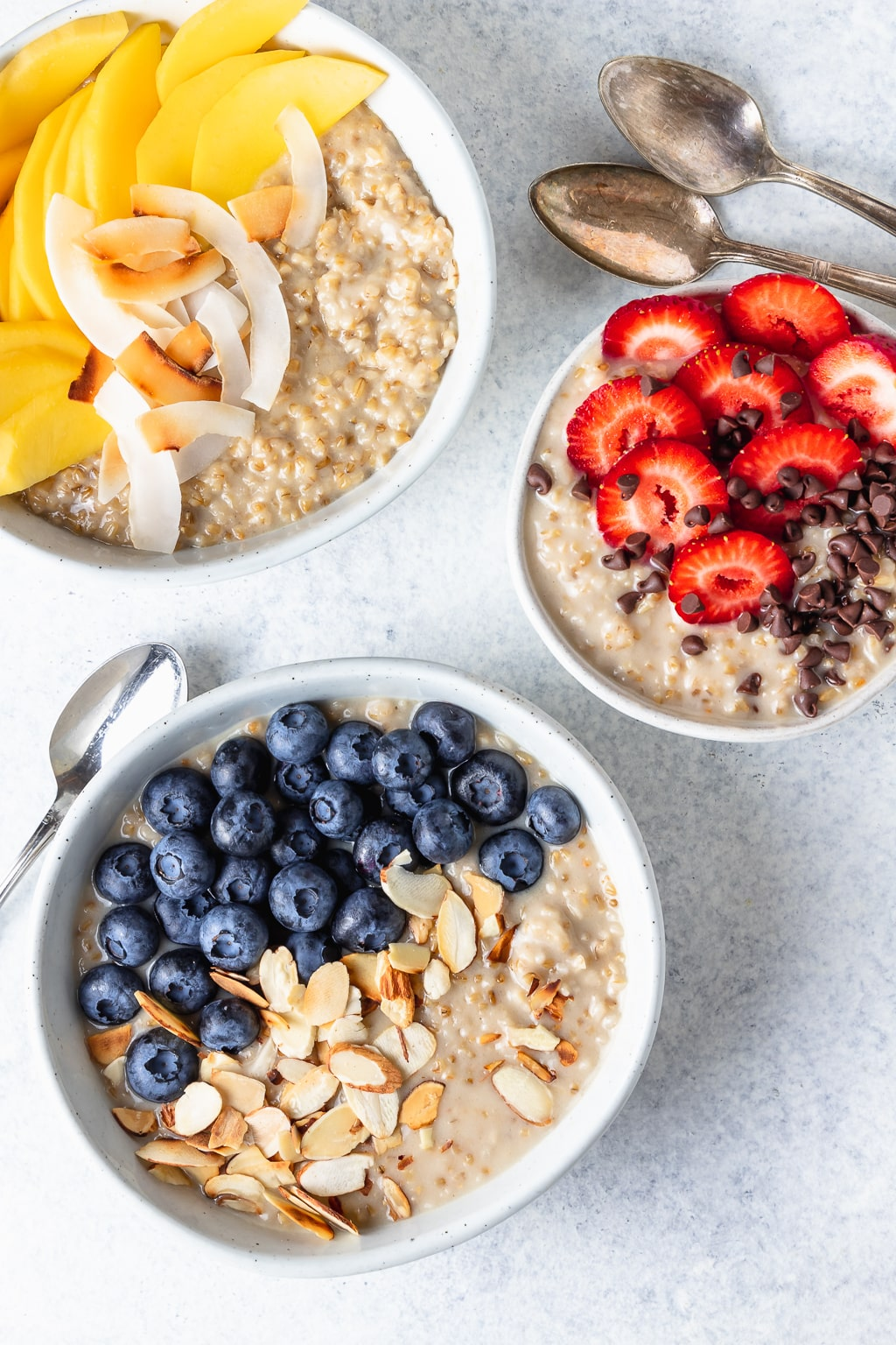 creamy vegan oatmeal three ways