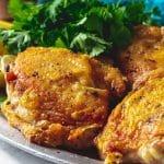 crispy chicken thighs close up