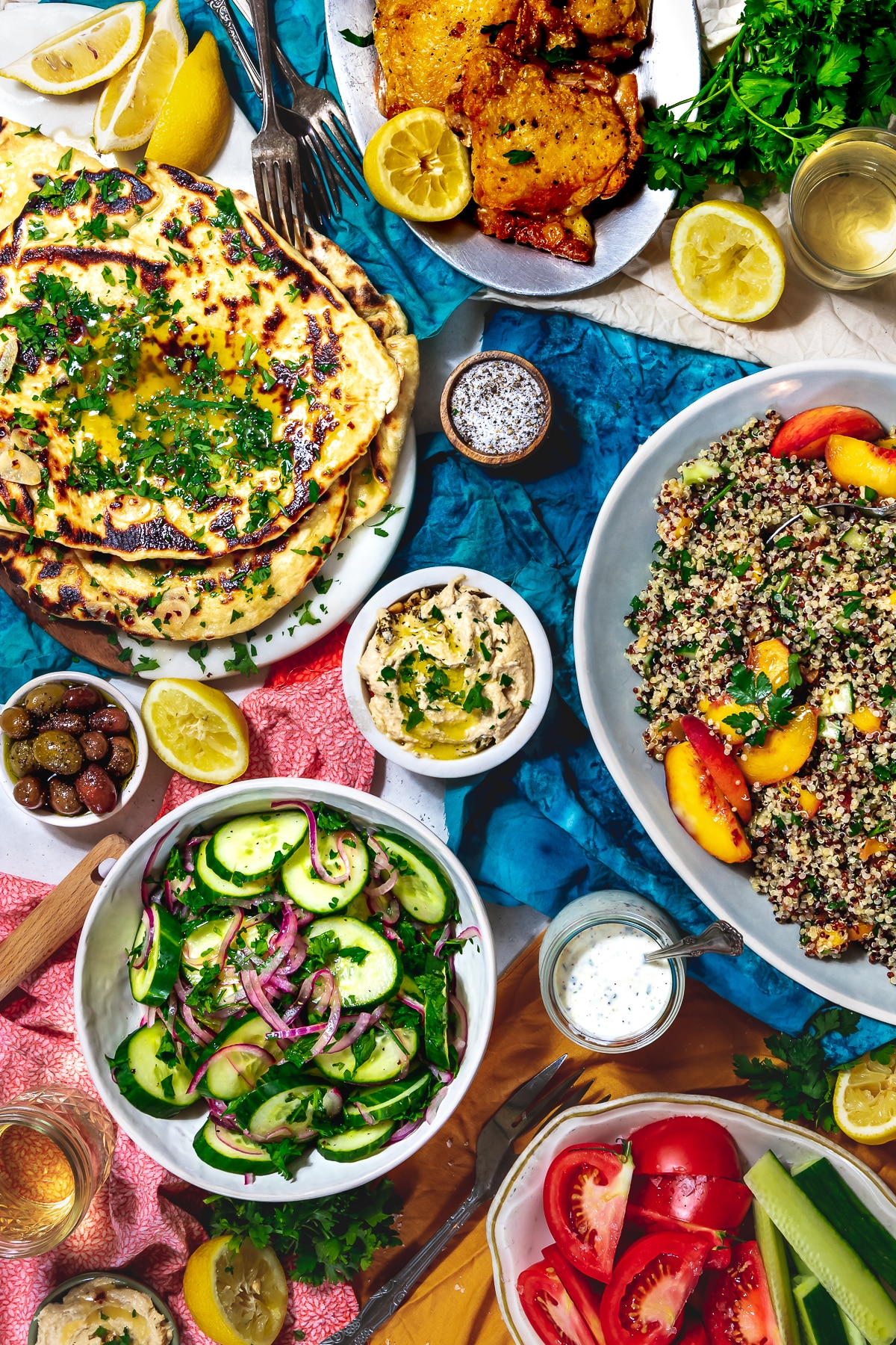 colorful summer dinner party spread