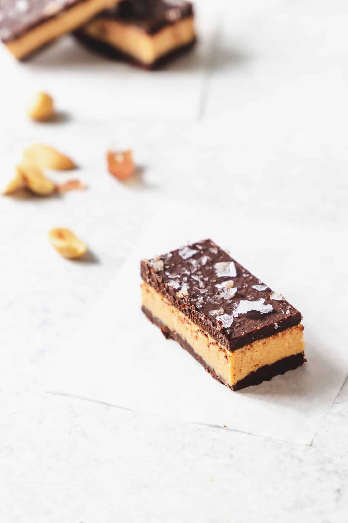 close up of crispy peanut butter candy