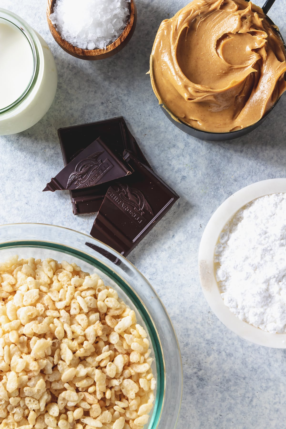 ingredients for crispy peanut butter bars
