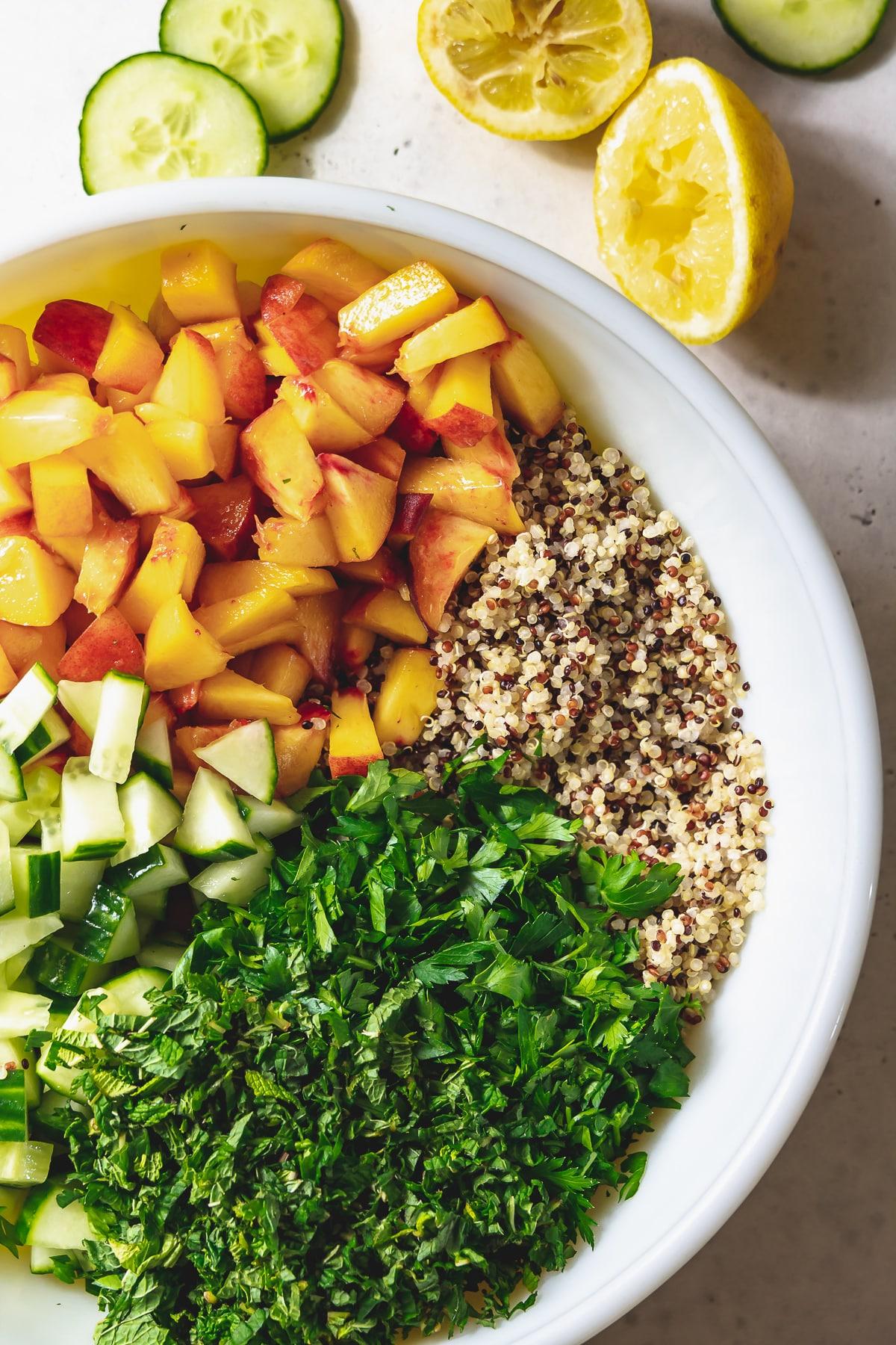 peach quinoa tabbouleh ingredients