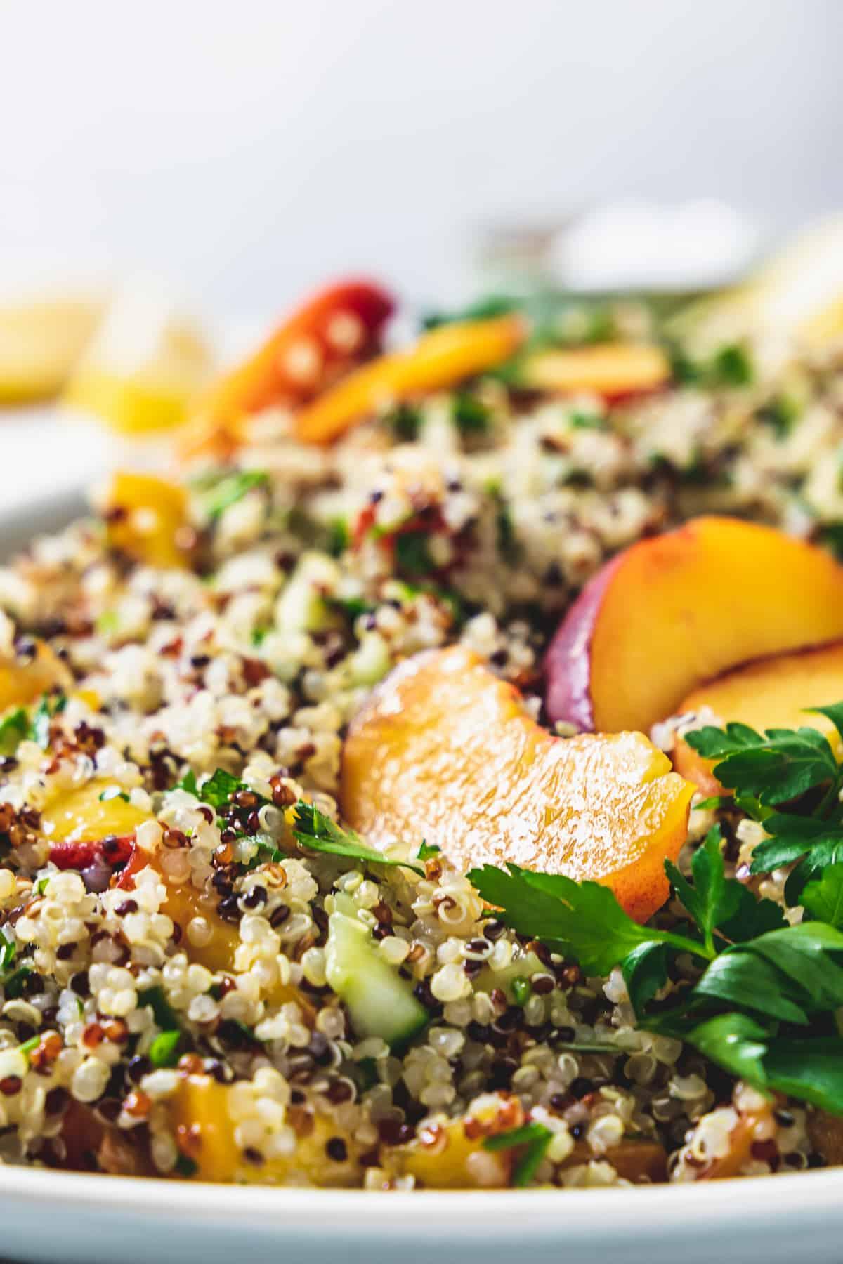 close up of peach and quinoa tabbouleh