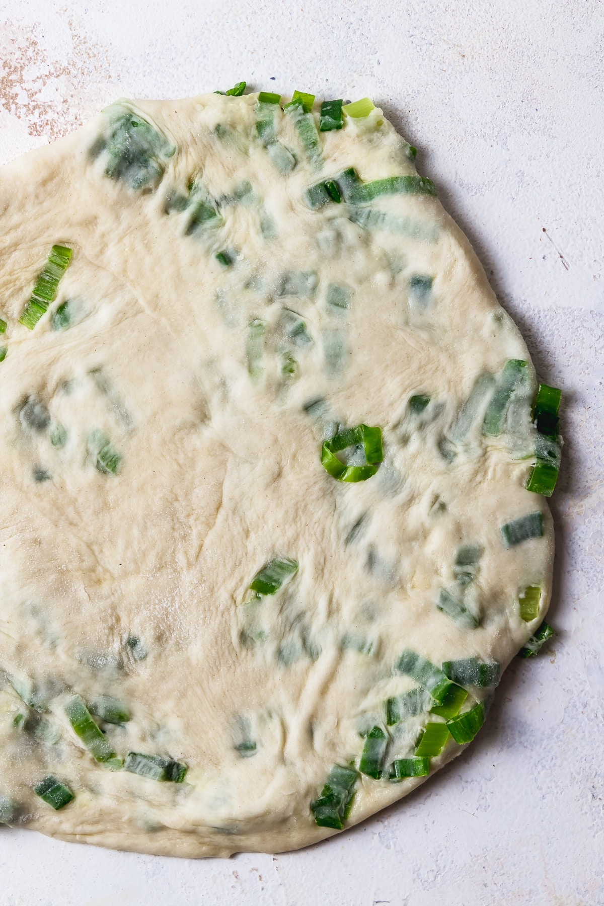 rolled out scallion pancake