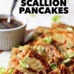 crispy scallion pancakes with sesame soy dipping sauce
