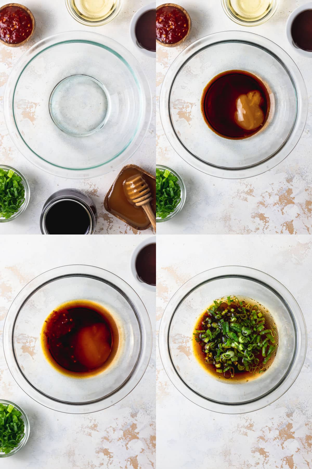 process shots of sesame soy dipping sauce