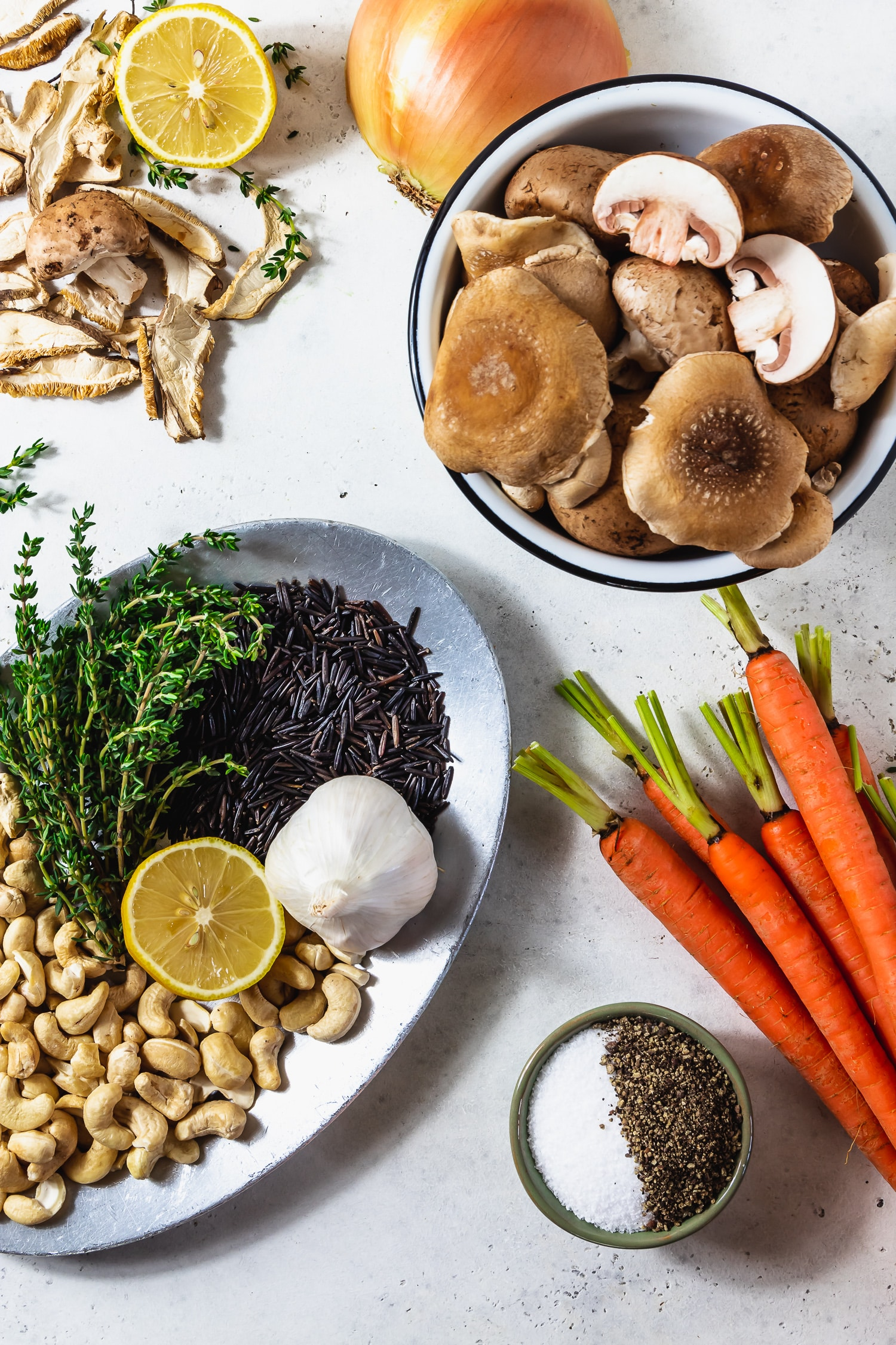 ingredients for mushroom wild rice soup