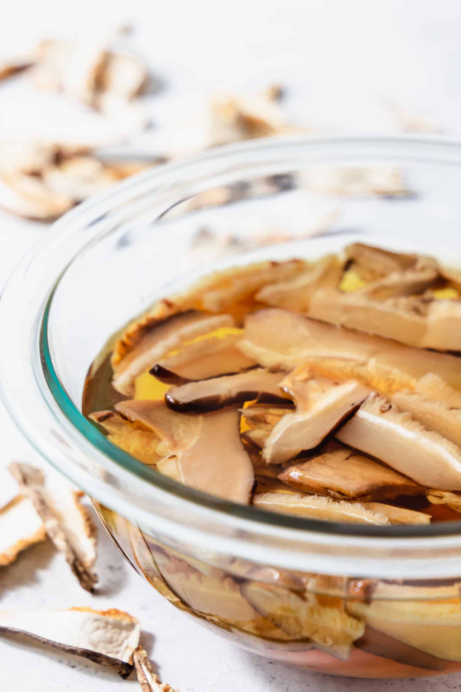 bowl of soaked dried mushrooms