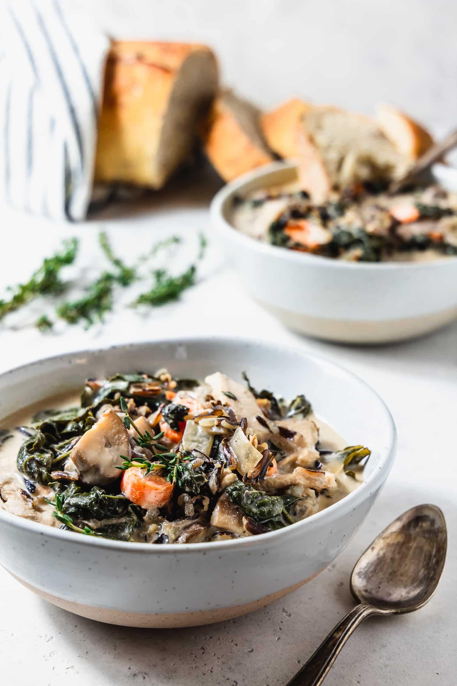 bowls of creamy mushroom wild rice soup