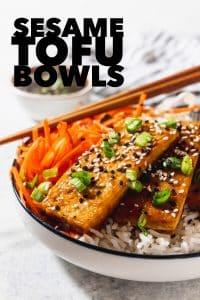 sesame tofu bowl with sauce, napkin and chopsticks