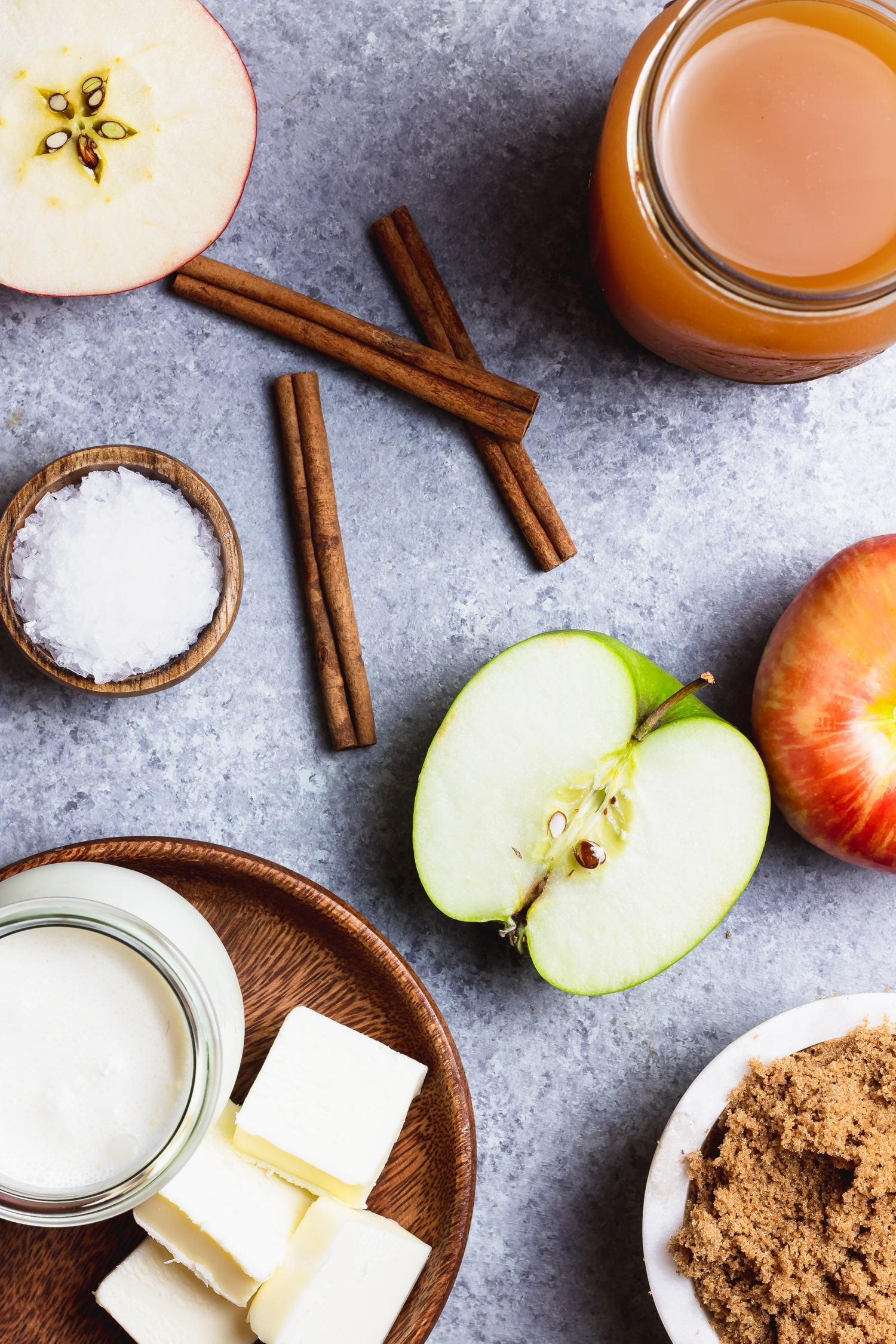 ingredients for apple cider caramel sauce