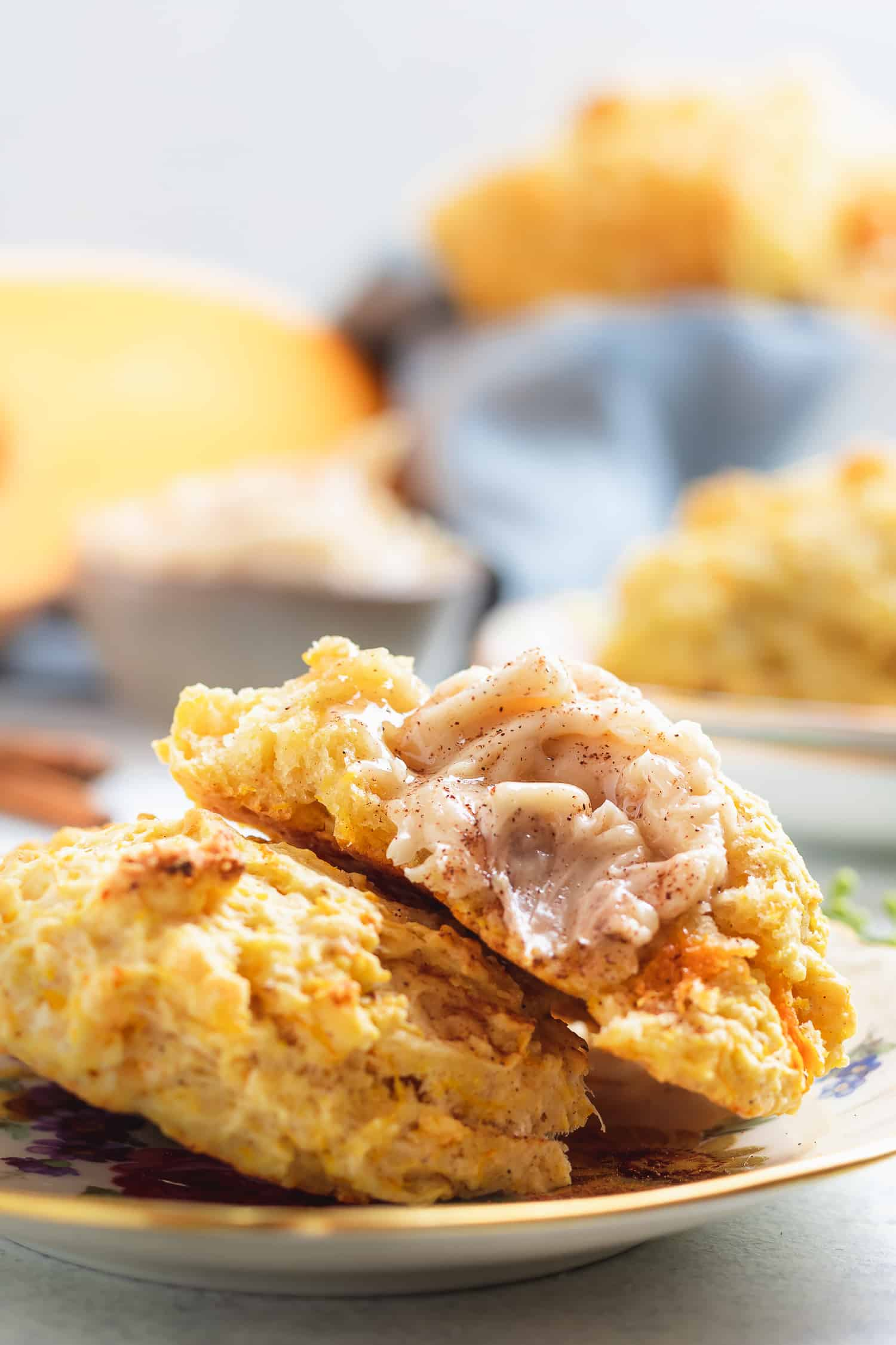 butternut squash drop biscuit spread with maple cinnamon butter