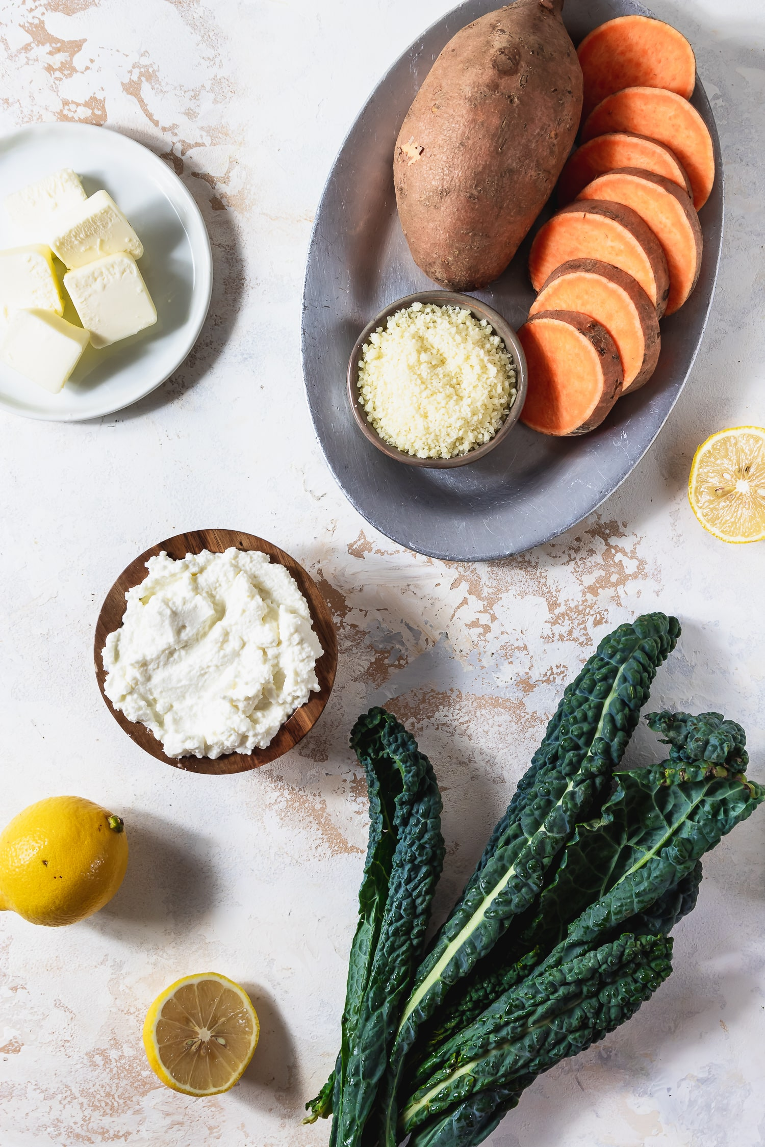 ingredients for sweet potato gnocchi with kale and brown butter