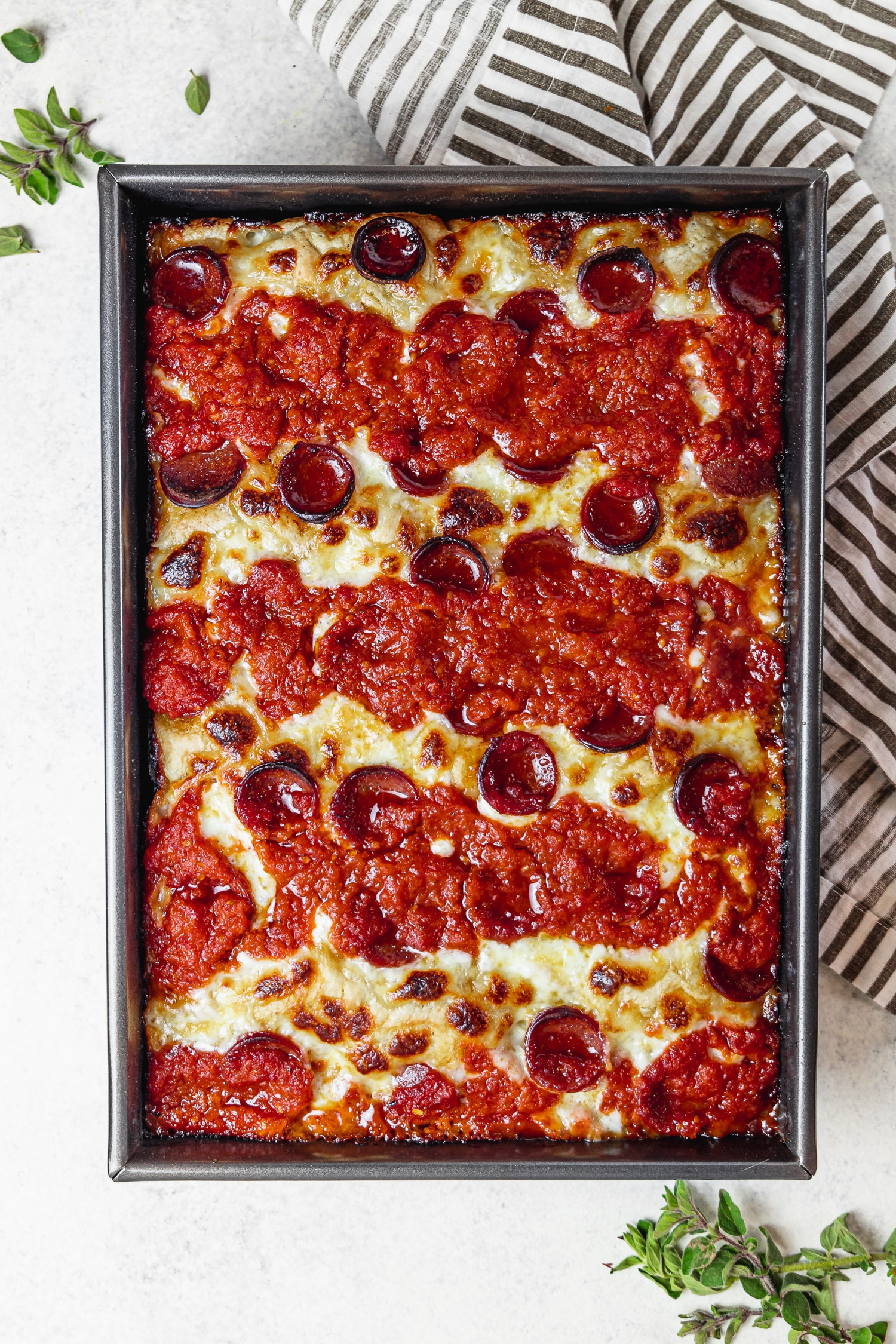 cooked detroit style pizza