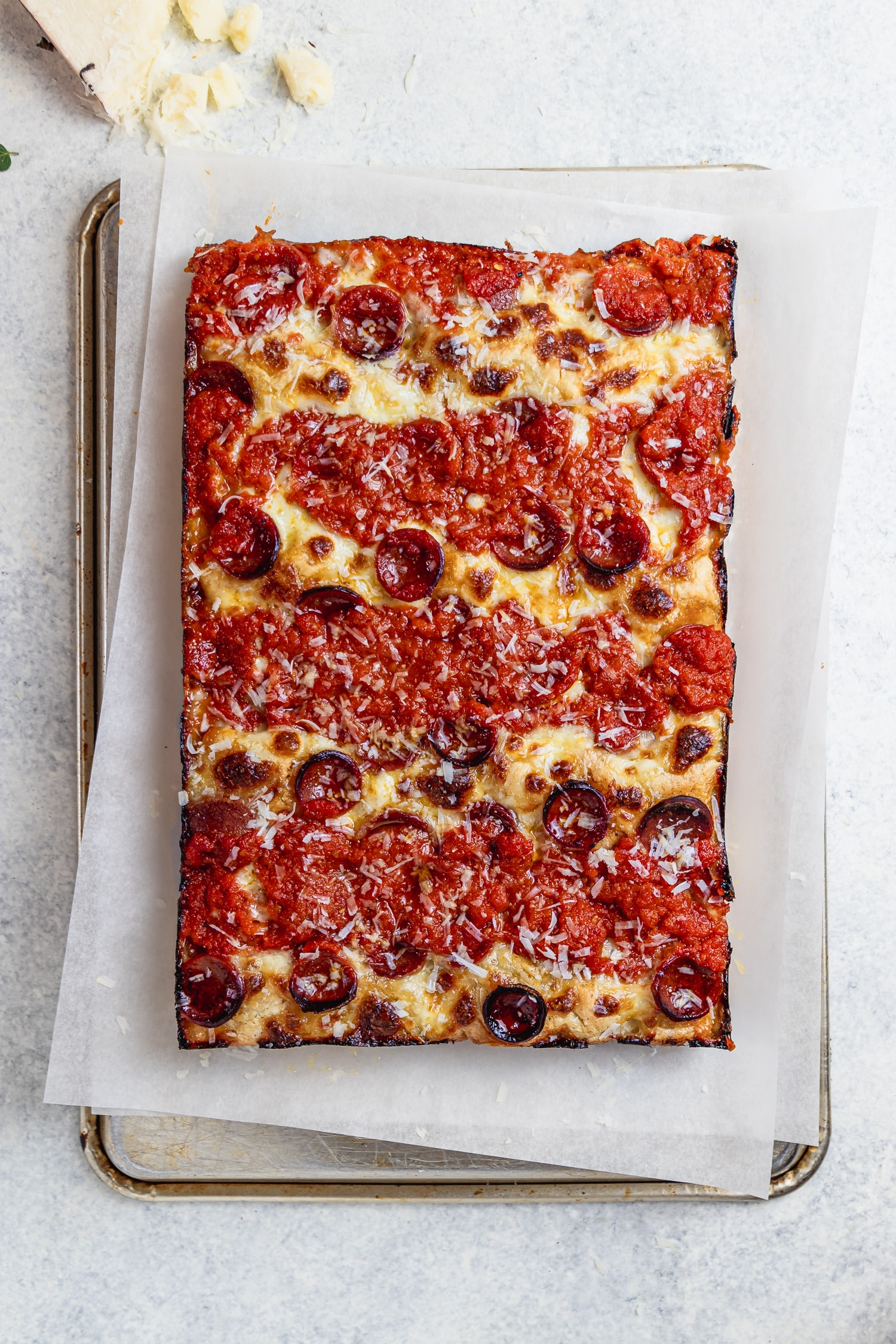 cooked detroit style pepperoni pizza