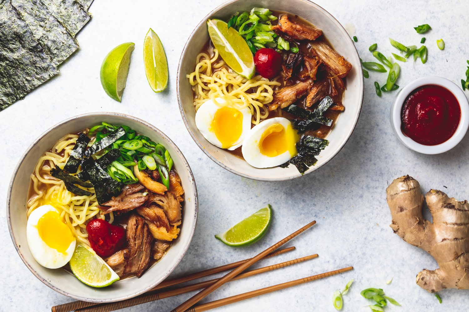two bowls of turkey ramen