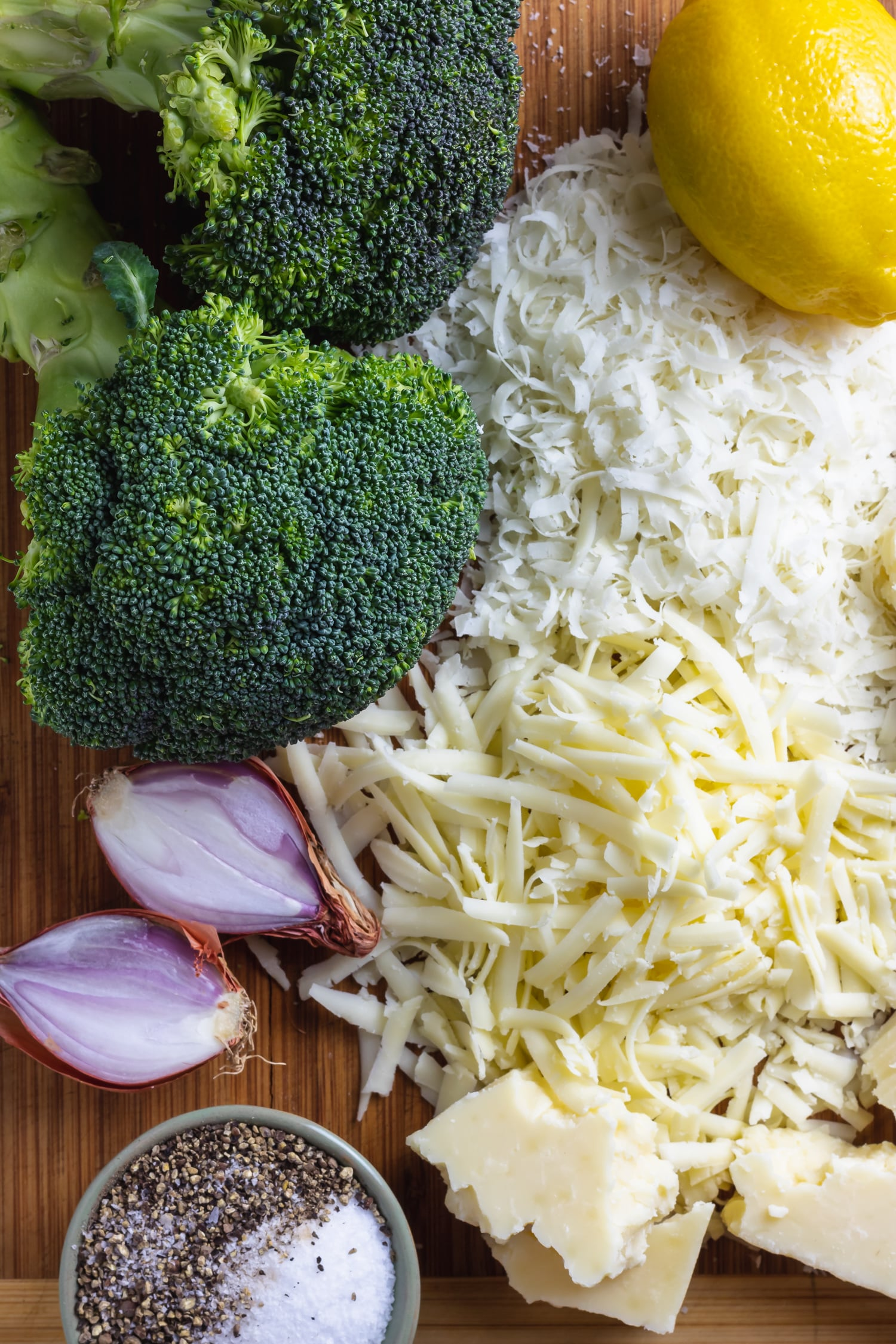 ingredients for lightened up broccoli cheddar soup