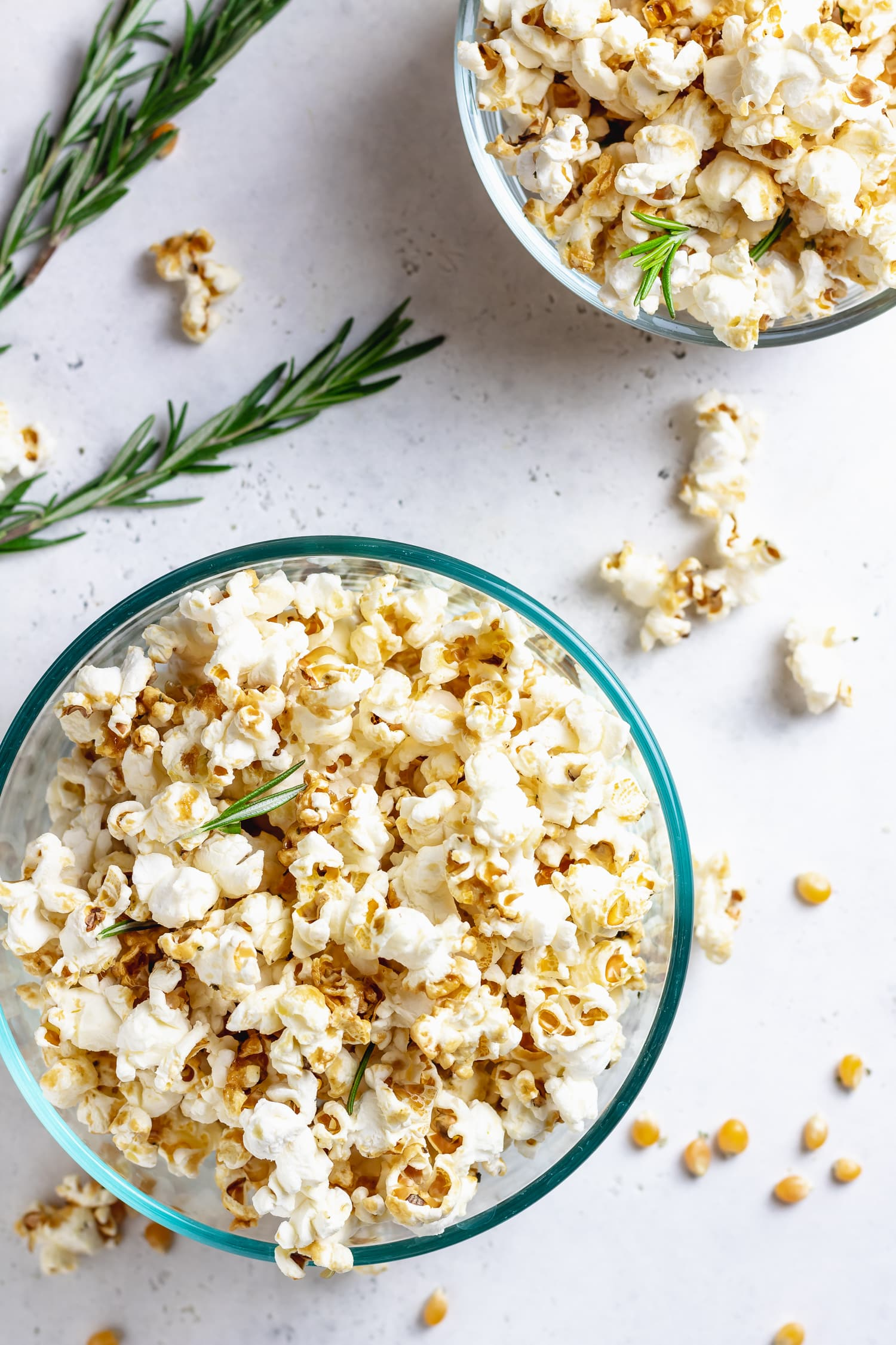 maple rosemary popcorn in bowls