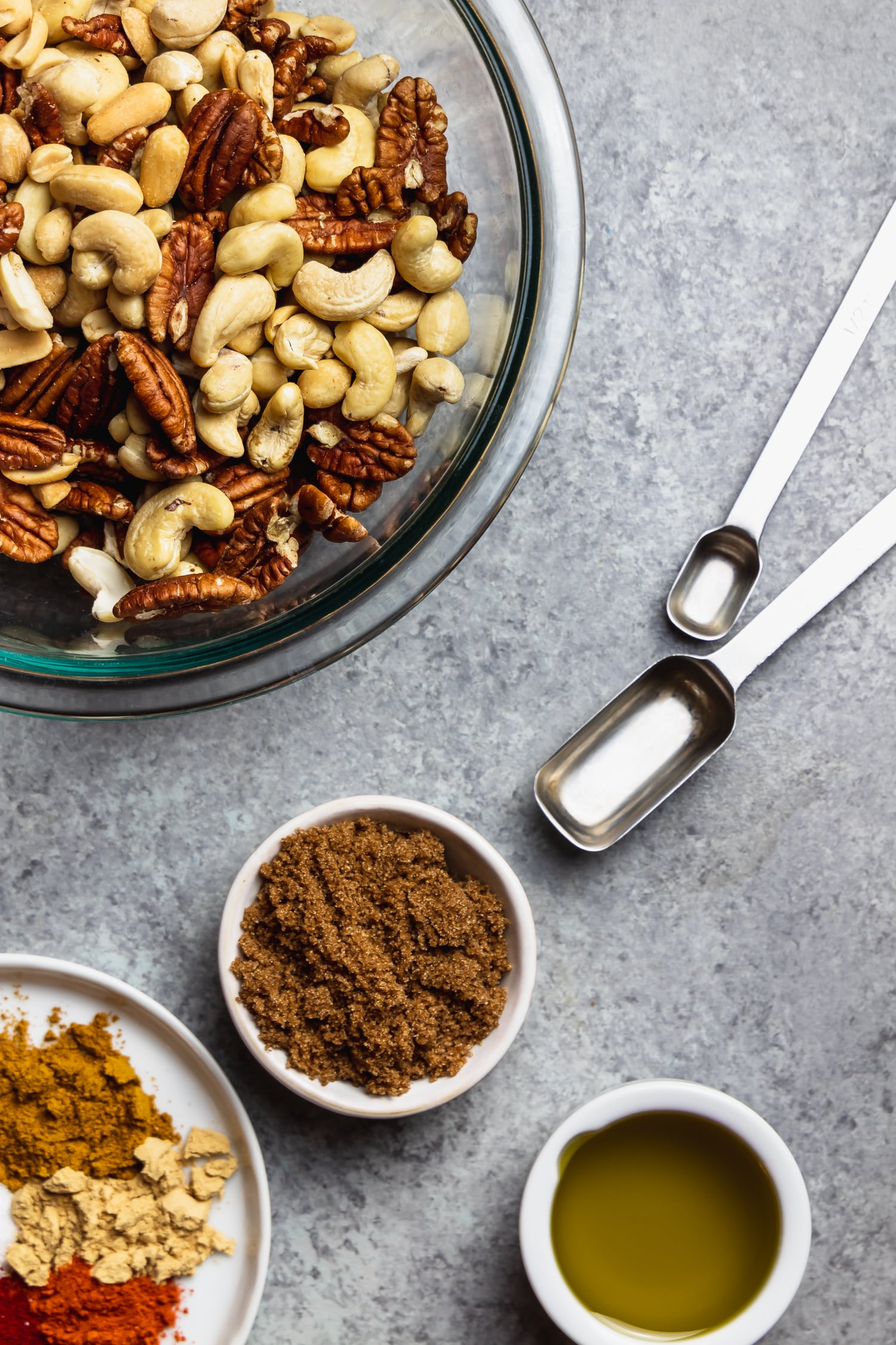 ingredients for sweet and spicy mixed nuts