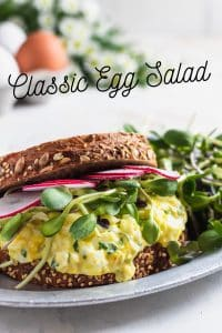 classic egg salad sandwich with sprouts and radish