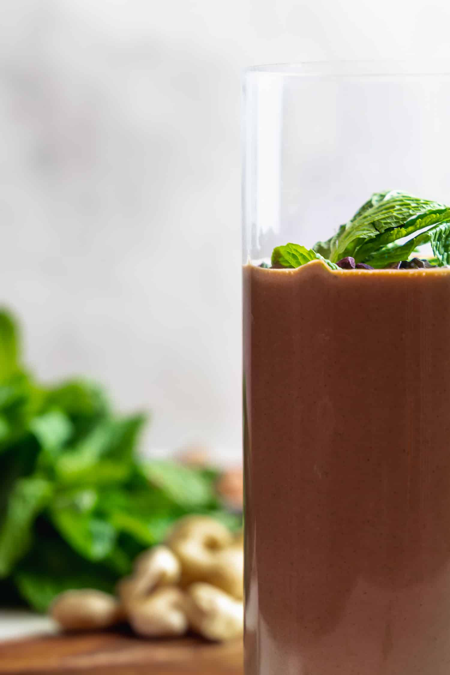 mint chocolate smoothie close up