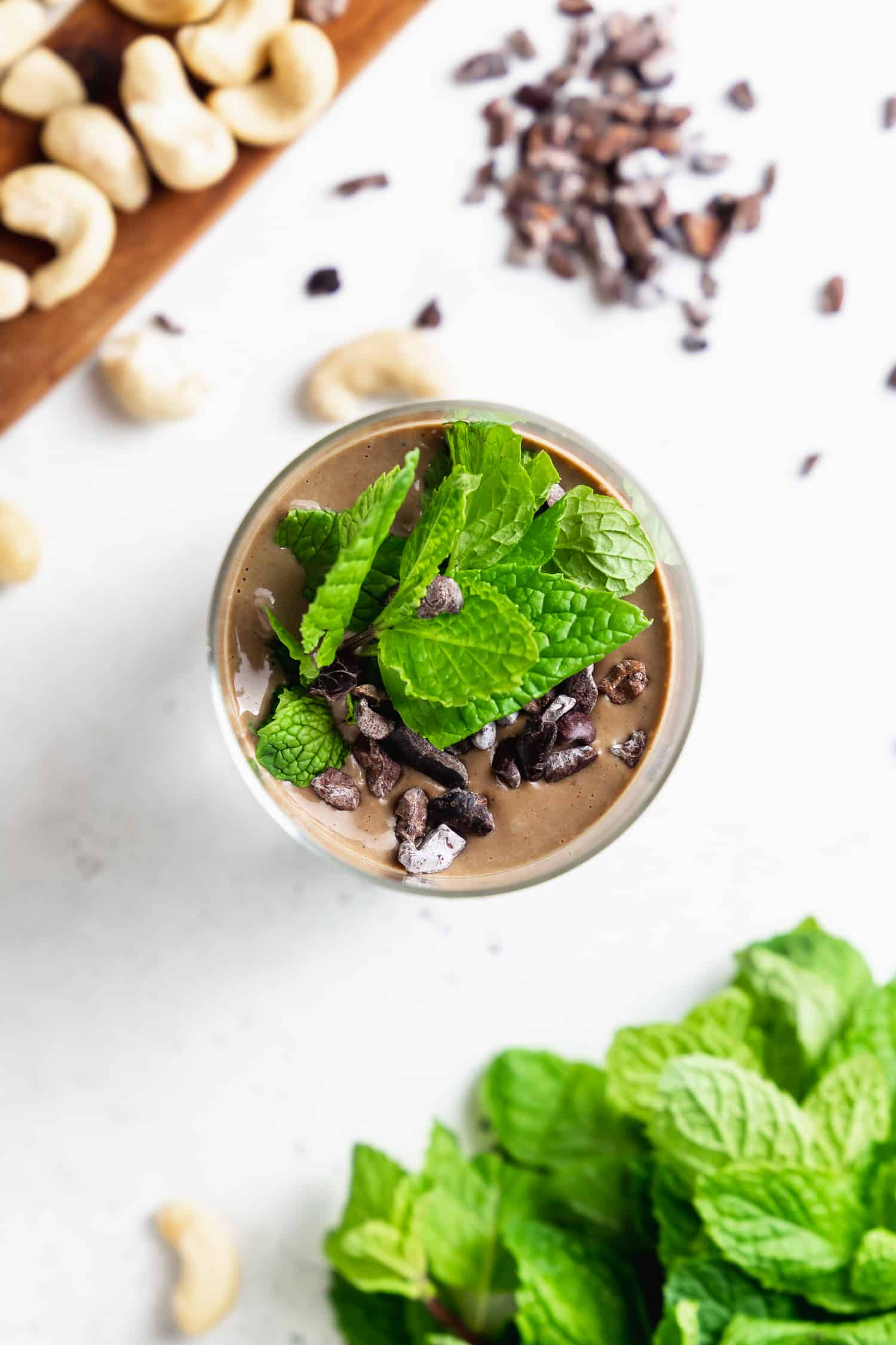 overhead of mint chocolate smoothie