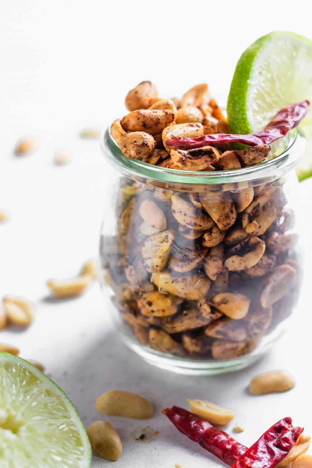 spicy chili lime peanuts in a glass jar