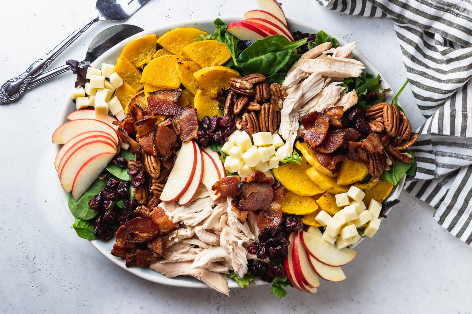 horizontal platter of composed salad