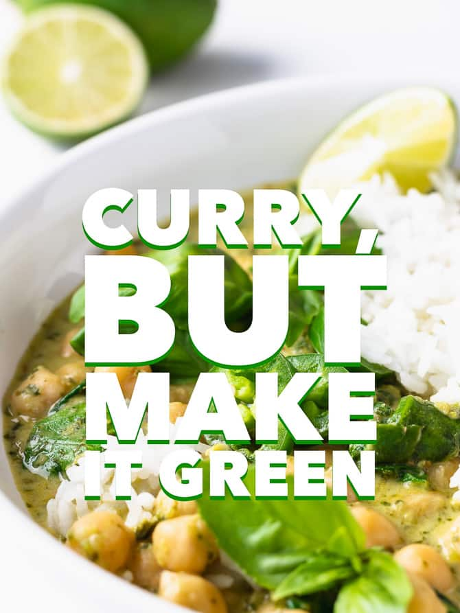 Green Coconut Curry Chickpeas
