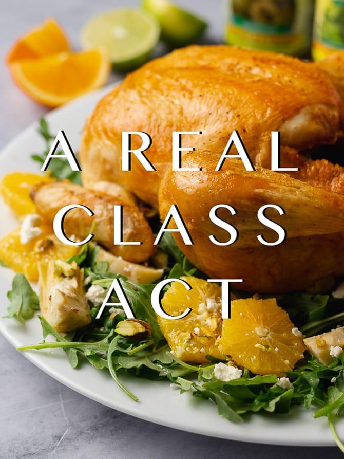 Roast Chicken with Artichoke and Citrus Salad